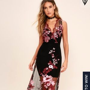 Work the Bloom Wine Red and Black Embroidered Maxi